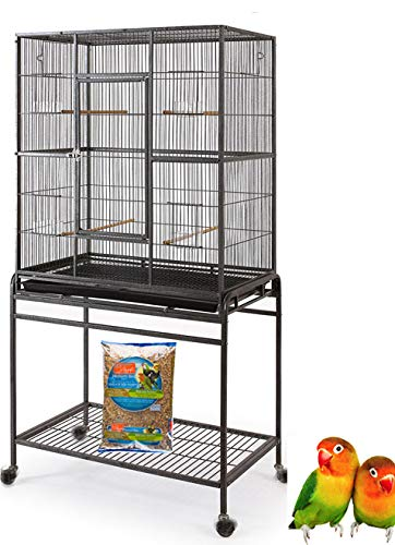 "Mcage Large Wrought Iron Flight Canary Parakeet Cockatiel Lovebird Finch Cage with Removable Stand (32"" L x 18"" W x 64"" H, White Vein)"