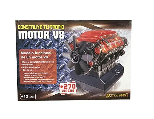 Outletdelocio. Maqueta Motor V8. Motorizado, Completamente Funcional. con Luz y Sonido. Kit de Montaje de 270 Piezas