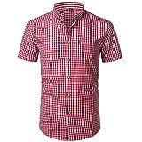 U/A Pequeña Camisa De Cuadros De Los Hombres De Verano De Manga Corta De Algodón Para Hombre Camisas De Vestir Rojo rosso XL