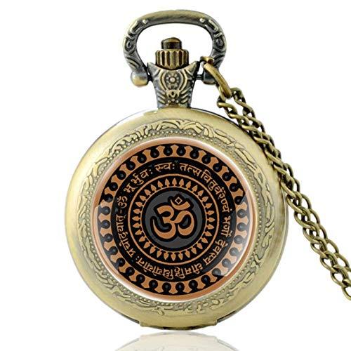 ZDANG Reloj de Bolsillo de Cuarzo Vintage de Bronce con diseño de símbolo de hinduismo, Reloj Colgante de Horas para Hombres y Mujeres,un Regalo para niños
