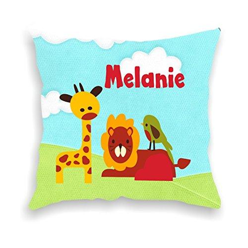 wolga-kreativ Kissen-bezug Deko-Kissen Löwe Giraffe 40x40 cm incl. Füllung Namenskissen Geschenk-e Baby-Kissen Kinder-Kissen Kinderzimmer Babyzimmer Mädchen Junge-n mit Namen (flauschig)