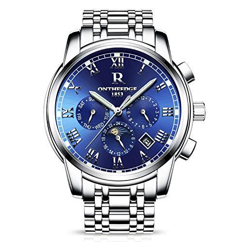 RORIOS Herren Edelstahl Automatisch Mechanisch Uhren Kalender Woche Römisch Nummer Metallarmband wasserdichte Multifunktion Armbanduhr