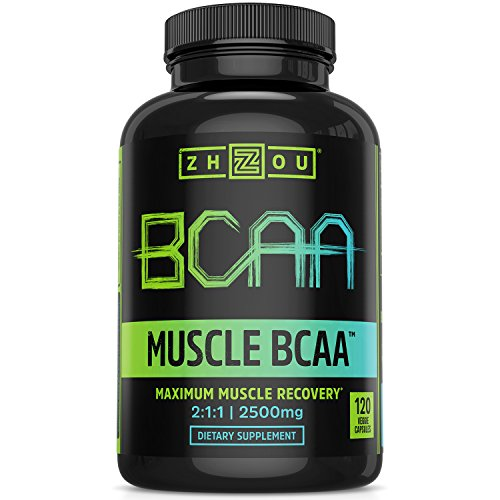 Zhou Muscle BCAA   Branched Chain Amino Acids   Build Muscle, Improve Recovery, and Increase Endurance   30 Servings, 120 Capsules