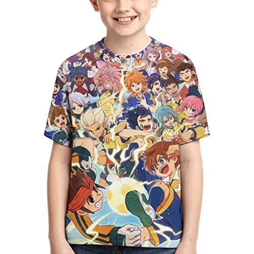 HJYR Ispirato da Inazuma Anime Eleven Teens Girocollo Sport Traspirante Sport T-Shirt a Maniche Corte per Ragazzi Estate Nero