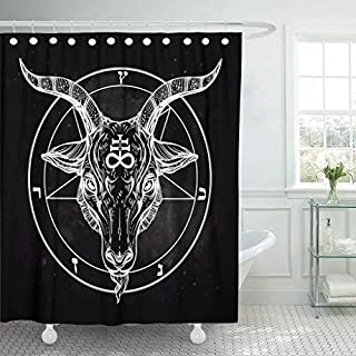 A Better Curtain Pentagram Demon Baphomet Satanic Goat Head Binary Symbol Tattoo Shower Curtain Polyester Fabric Bathroom Decor with Hooks