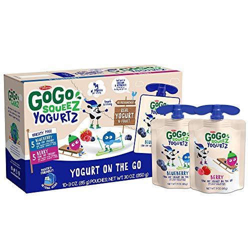 GoGo squeeZ yogurtZ Variety Pack,Berry, Blueberry, 3 oz (60 Pouches) -Kids Snack Made from Real Yogurt & Fruit – Pantry Friendly, No Fridge Needed – No Preservatives- Kosher Certified- Gluten Free