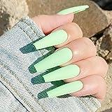 Moda 24 unids/set mate cubierta completa uñas postizas puntas largas de Ballet uñas postizas con arte de uñas manicura herramientas de manicura francesa
