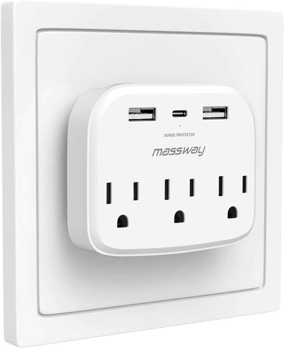 Wall Outlet Surge Protector, Massway USB Wall Charger Surge Protector with 3 Outlets 2 USB Ports & 1 Type-C Port,Multi Plug Outlets Wall Mount Adapter with Phone Holder for Home Travel Office Hotel