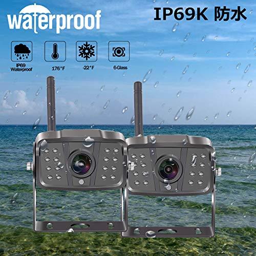 YakryY-01タッチパネルキーHD1080Pバックカメラモニターセット7インチバックモニターワイヤレスバックカメラ双バックカメラDVR録画デジタル信号電磁波干渉防止ノイズ対策トラック対応12V/24V対応ガイドライン表示あり正像鏡像切替暗視機能IP69K防水2年間保証