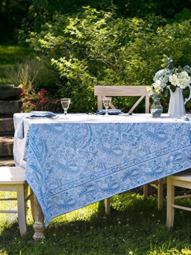 April Cornell Light Blue Priscilla's Paisley Print 54 x 54 Inch Square 100% Cotton Tablecloth -Seats 4