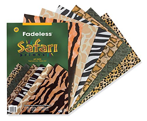 PACON-PAC57770 Fadeless Safari Prints Paper, 6 Assorted Patterns, 12' x 18', 24 Sheets