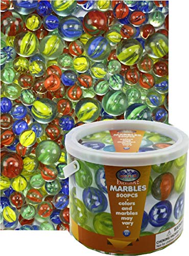 Deluxe 500 Pieces (7.5 Pounds) of Cat's Eyes Marbles & Shooters with Exclusive Matty's Toy Stop Storage Bucket