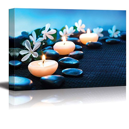 wall26 - Canvas Prints Wall Art - Candles and Black Stones on Black Mat Spa Concept | Modern Wall Decor/Home Decoration Stretched Gallery Canvas Wrap Giclee Print. Ready to Hang - 24