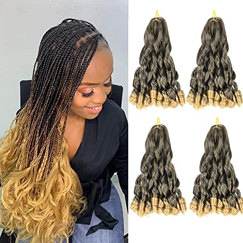 """20inch New Loose Wavy Braiding Hair Pre Stretched French Curl Braiding Hair (4packs 150g/pack)Omber Blonde French Curles Crochet Braid Hair Extensions for Black Women (20"""" 1B/27# 4packs)"""
