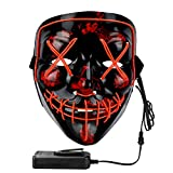 Philonext Halloween Mask LED Light up Mask for Festival Cosplay Halloween Costume Masquerade Parties,Carnival,Gifts (Red), Medium