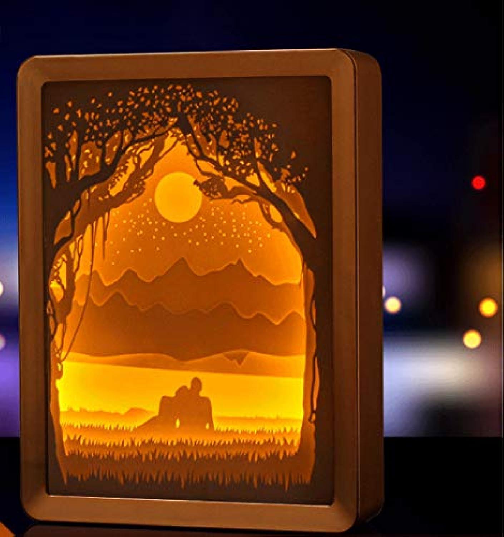 Knncch Papier, Das Lampe Schnitzt Neues Merkwürdiges 3D Nachtlichtstapellicht Schattenpapier, Das Schattenlampe Schnitzt Fotorahmenpapier, Das Lampe Schnitzt