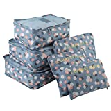Bolsa de viaje Ropa para el hogar Maquillaje Embalaje Neceser Caja de almacenamiento azul 6pcs Set