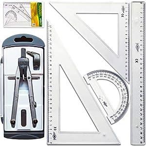 Pack Compas Escolar Secundaria Juego de Reglas Escuadra y Cartabon 28 cm Transportador de Angulos 15 cm Regla 30 cm…