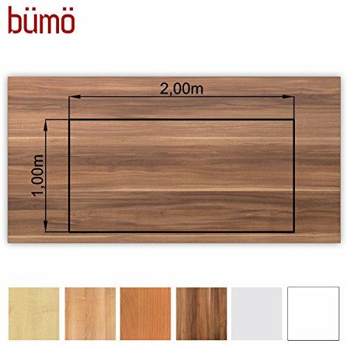 Bümö® stabile Tischplatte 2,5 cm stark - DIY Schreibtischplatte aus Holz | Bürotischplatte belastbar mit 120 kg | Spanholzplatte in vielen Formen & Dekoren| Platte für Büro, Tisch & mehr (Rechteck: 200 x 100 cm, Zwetschge)