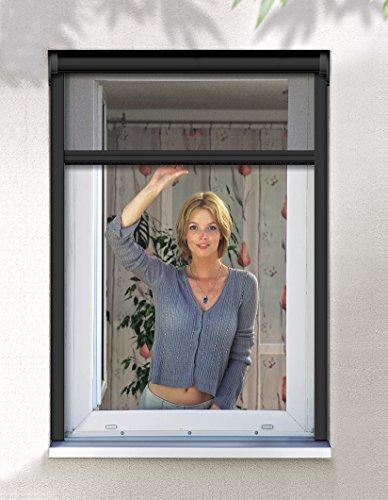 Schellenberg 50566 Insektenschutz Klemmrollo PREMIUM/Fliegengitter Klemmrollo für Fenster – 160 x 160 cm in Anthrazit