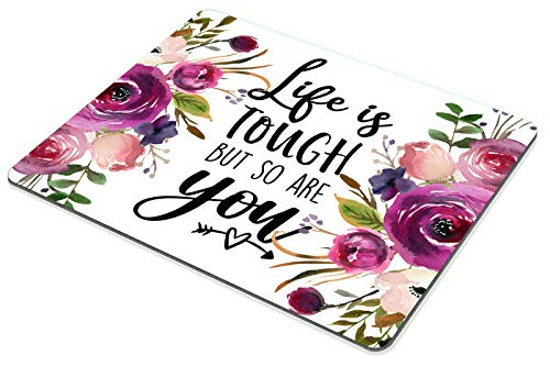Smooffly Quote Mousepad, Floral Mouse Pad, Inspirational Quote Mouse Pad - Life is Tough but so are You Photo #4