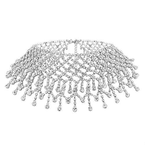 KHOBGLU Collar para Las Mujeres Multila Yers Borla Rhinestone Gargantilla Collares Moda...