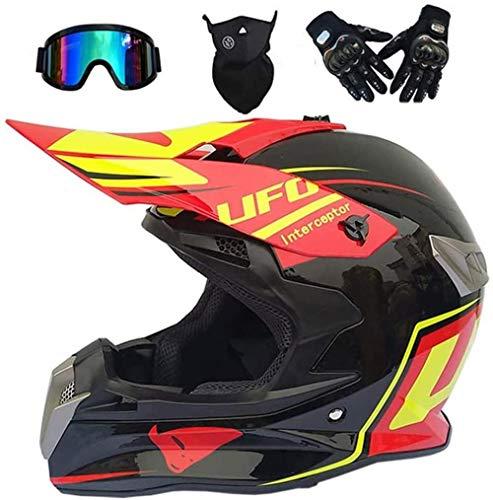 Houl Casco da motocross UFO Style Casco integrale da motociclista Set con occhiali Guanti Maschera Nero Rosso Casco da moto Off-Road Enduro Downhill Quad Dirt Bike ATV BMX Crash Casco-S (54~55 cm)