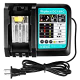 FLAGPOWER DC18RC 18V Battery Charger for All Makita 14.4V-18V Lithium Battery BL1830 BL1840 BL1850 BL1860 BL1815 BL1430 BL1450 BL1440 US Plug Fast Charger