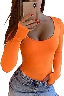 GEMBERA Women's Scoop Neck Long Sleeves Bodysuit One Piece Bodycon Tops