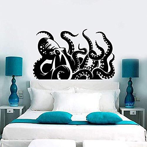 Pulpo Gigante Kraken Marine Monster Tentacles Vinilo Tatuajes De Pared Decoración Para El Hogar Arte Pegatinas De Pared Negro 58X36 Cm