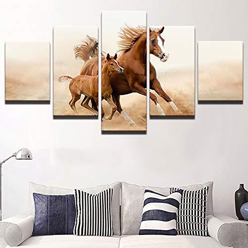 JSBVM Wandbilder Druck auf Leinwand Laufendes Tierpferd Bild 5 Panel Modern Kunstwerk Wohnkultur Für Wohnzimmer,A,30×50×2+30×70×2+30×80×1