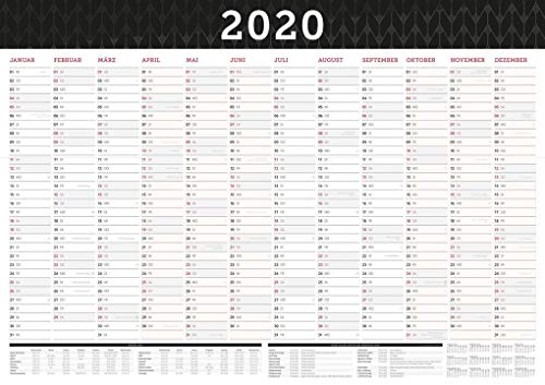 Großer Wandkalender 2020 in DIN A1 (84 x 59,4 cm) gefalzt, fürs Büro. Wandplaner, Jahreskalender XXL für 12 Monate 2020. Jahresplaner groß inklusive ... Ferien, gesetzlichen Feiertage und Vorschau