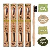 Pack de 4 brosses à dents en bambou biodégradable, poils souples infusés au charbon végétal, Ergonomique et Vegan.