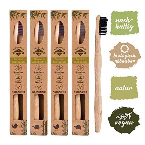 4er Pack Bambus Zahnbürste mit reinem Bambus-Holz ✮ vegan ✮ biologisch abbaubar ✮ 100% frei von BPA ✮ Borsten mit Bambus-Holzkohle für beste Sauberkeit