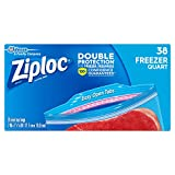 Ziploc Freezer Bags with New Grip 'n Seal Technology, Quart, 38 Count, Pack of 3 (114 Total Bags)