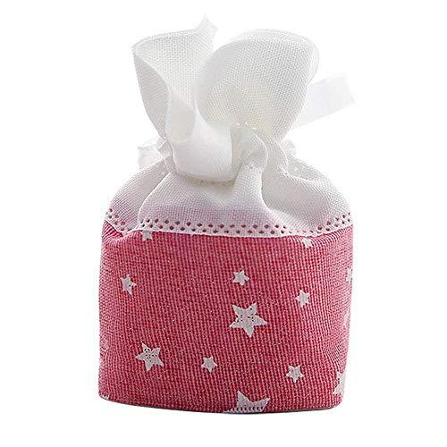 Uteruik Bolsas de Dulces de Boda Bolsa de Cordón para La Boda Bolsas de Regalo de Bebé Bolsas de Regalos de Cumpleaños con Felicidad Círculo American Yarn 1pcs (Rosa Claro) (MG-#i)
