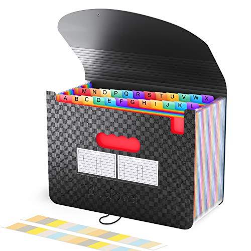 BluePower Rangement Papier Administratif/Trieur 24 Compartiments,A4 Trieur Document avec Couvercle, Portable Plastique Valisette Trieur Accordeon, Accordéon Organiseur de Dossiers de Fichiers