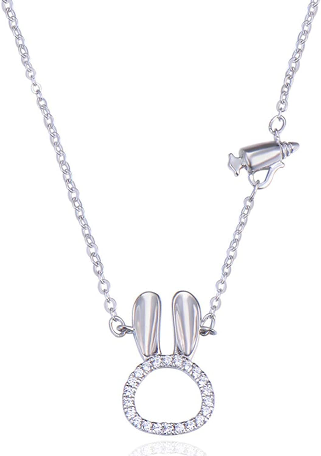 925 Sterling Silver Bunny Ladies Necklace, HandSet Zircon Craft, Tail Chain Long Chain Design Adjustable Length