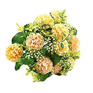 Artificial Silk Carnation Bouquet Flowers Artificial Flowers for Wedding Bridal Bridesmaid Home Decoration Carnation Heads with 6″ Stems (F)