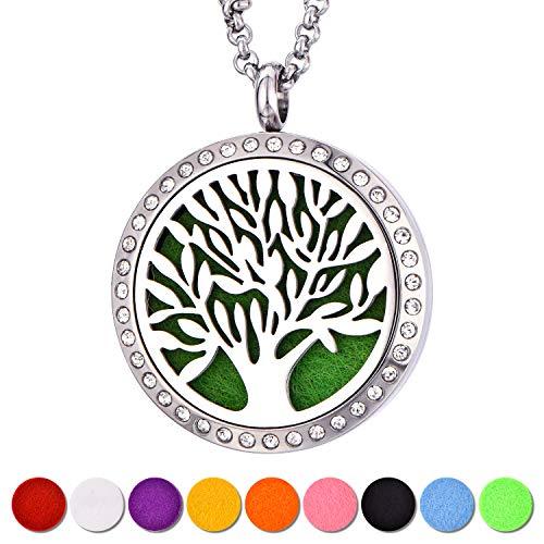 YL Kette Aromatherapie für Diffusor ätherische Öle Edelstahl Baum des Lebens Medaillon Anhänger Damen Schmuck