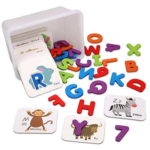 foshan Cgration Alphanumerisches passendes kognitives Karten-Set, doppelseitig, 3D-ABC-Alphabet, Wörter, Zahlen, Lernspielzeug für Kinder
