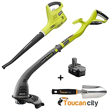Ryobi ONE+ 18-Volt Lithium-Ion String Trimmer/Edger and Blower/Sweeper Combo Kit - 2.6 Ah Battery and Charger Included P2034 and Toucan City Hand Trowel
