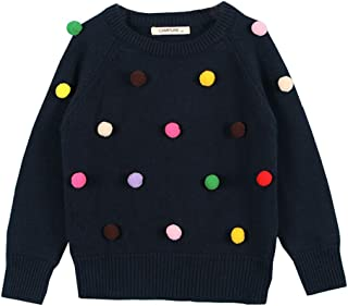 Infant Girls Knit Pullover Cotton Solid Color Cute Ball Design Long Sleeve Tops Dark Blue