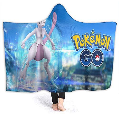 Pikachu Camping Hooded Blanket Anime Poke-mon Microplush, Functional Little Kids Size 50 x 40 Inch