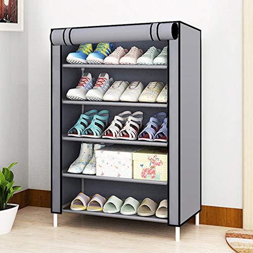 AIMCAE Organizador de Almacenamiento de zapateros, Zapatero portátil, Cubierta de Tela no Tejida Impermeable, Estantes para Zapatos Que ahorran Espacio, Estante para Zapatos,Gris,8 Tier