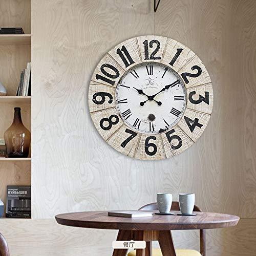 Warme Home hangwandklok met verlichting van hout voor de woonkamer Living Nordic wandklok retro creatieve wandklok van hout klok restaurant 70 x 70 cm