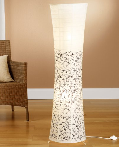 Trango TG1240L Modern Design LED Reispapier Stehlampe *KOS* in Rund Weiß mit floralem Muster Papierlampe, 125cm Hoch incl. 2x E14 LED Leuchtmittel als Wohnzimmer Deco Lampe, Standleuchte, Lampenschirm
