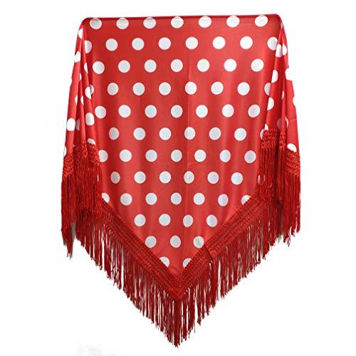 MUNDDY® - Manton con Lunares Para Adulto. Mantones Flamenco Sevillana.Mantón para fiesta de Color Rojo Negro Rosa Blanco Azul. Envio desde madrid con seguimiento. (Rojo-blanco(lunar grande))