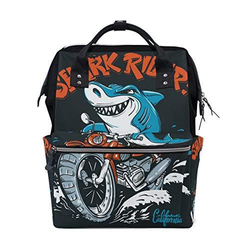 Funny Fish Shark Rider Sac à dos à langer pour maman Grand sac à dos à langer Unisexe Sac à dos de voyage Sac à dos d'école pour ordinateur portable