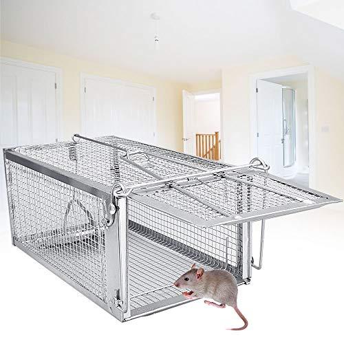 DECARETA Jaula para atrapar roedores, Trampa para Ratones, Trampa de Jaula 26 * 14 * 11,5 CM Trampa de Jaula Profesional de Hierro para atrapar Ratones, Ratones, hámsteres, Topos, comadrejas